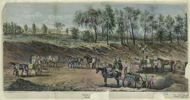 central park history construction-workers-horse-carts-wagons